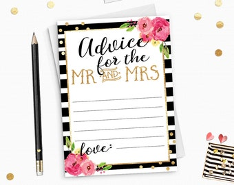 Gold Glitter Advice for the couple card Printable- Gold Glitter Advice for Mr and Mrs card - Instant Download - BS19