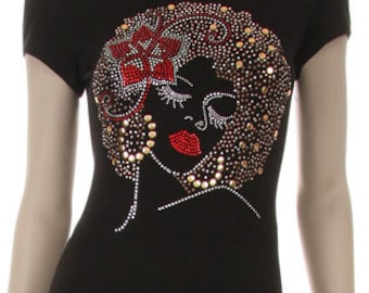 Red Flower Bow and Lips Brown Afro Girl Shirt