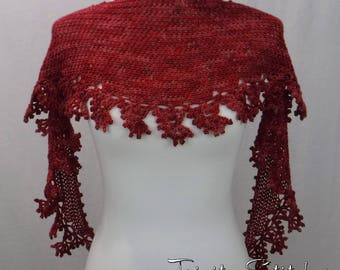 Crocheted Lace Scarf Hand Dyed Valentine Merino Silk Ready to Ship Free Shipping