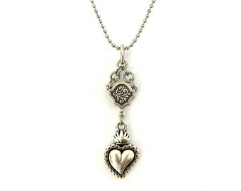 Silver Sacred Heart Necklace Ex Voto Flaming Heart,  Celtic Religious Jewelry, Ex Voto Milagros Jewelry