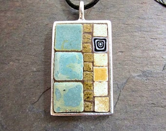 Mosaic Pendant, Mosaic Art, Mosaic Jewelry, Mosaic Necklace