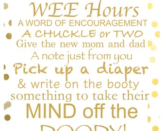 Gold Words for the wee hours sign/printable PDF, Baby Shower Activity, Late Night Diapers, Diaper Thoughts, Diaper Advice, Banner