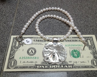 Extra Large Sand Dollar Necklace on White Fresh Water Pearls.  Size 2.0 FREE FAST Shipping