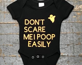 Don't Scare Me I Poop Halloween Ghost Onesie Bodysuit One Piece Newborn Infant Toddler Outfit