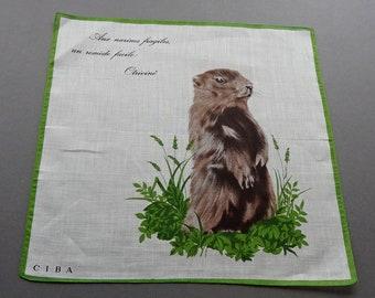 Vintage 60s Ciba Advertising Promotional for Otrivine Cotton Novelty Hankie Handkerchief