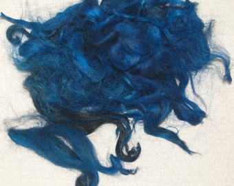 Karakul Sheep Wool Locks for Spinning Felting and Doll Hair, Doll Wig, Black with Hand Dyed shades of Peacock Blue Highlights 1 oz.
