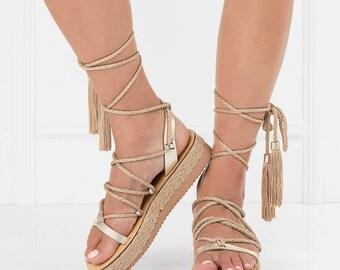 Gold platform sandals, jesus sandals, jerusalem sandals, platform sandals, gold, rope sandals, embellished platform sandals, womens platform
