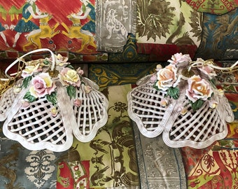 Pair Italian Capodimonte Porcelain HANGING LIGHTS BASKETS with Flowers!