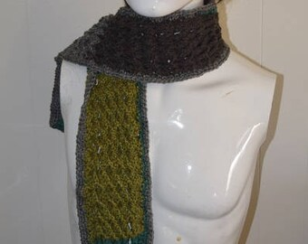 70's Style Earth Tones Narrow Cable Block Scarf