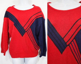 7 Dollar SALE---Vintage 80's SOPHISTICATES by Jonathan Martin Red & Navy Sweater M