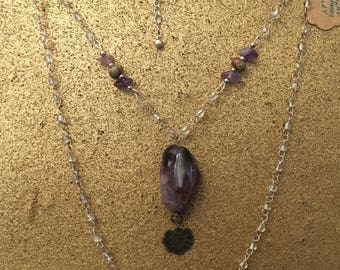Amethyst and turquoise double necklace