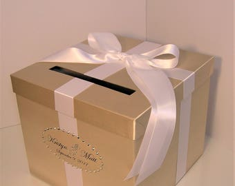 Wedding Card Box Champagne and White Gift Card Box Money Box Holder--Customize your color/made to order (10x10x9)
