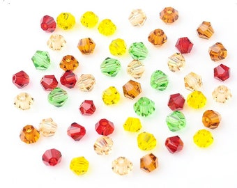 beads x 25 Crystal 4 mm mix color rrouge tops