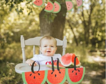 Watermelon Party One Banner - One in a Melon Party - Watermelon One High Chair Banner
