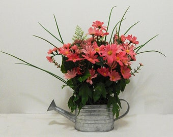 Mother's Day Gift, Small Flower Arrangement, Galvanized Decor, Small Arrangement, Silk Flower Arrangement, Silk Flowers, Home Decor