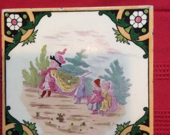 Set of Two Vintage English custom mural tile tiles box 130