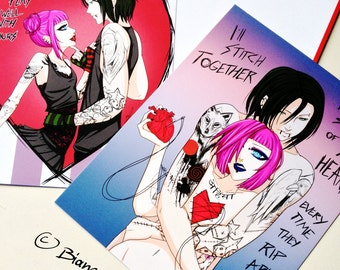 Dark Love Card Set - 2 Cards - original anime manga gothic punk art valentines - Bianca Loran Art
