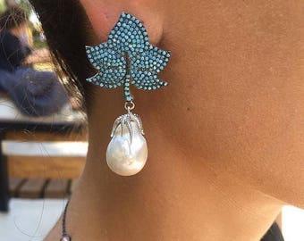 Original Pearl and 925 Sterling Silver Earrings