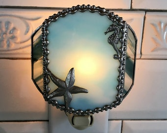 Stained Glass Nightlight|Starfish|Seahorse|Turquoise|Home Decor|Lighting|Night Lights|Handcrafted|Made in USA