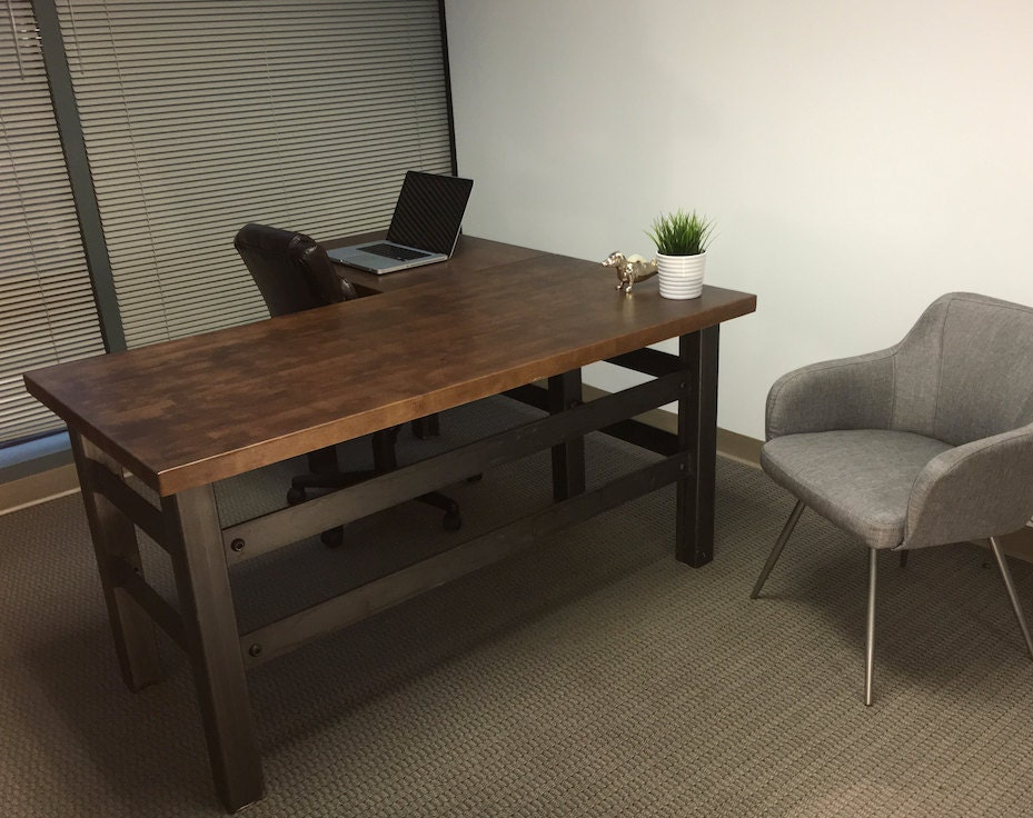 The Brooklyn Executive L shape desk Modern Industrial fice