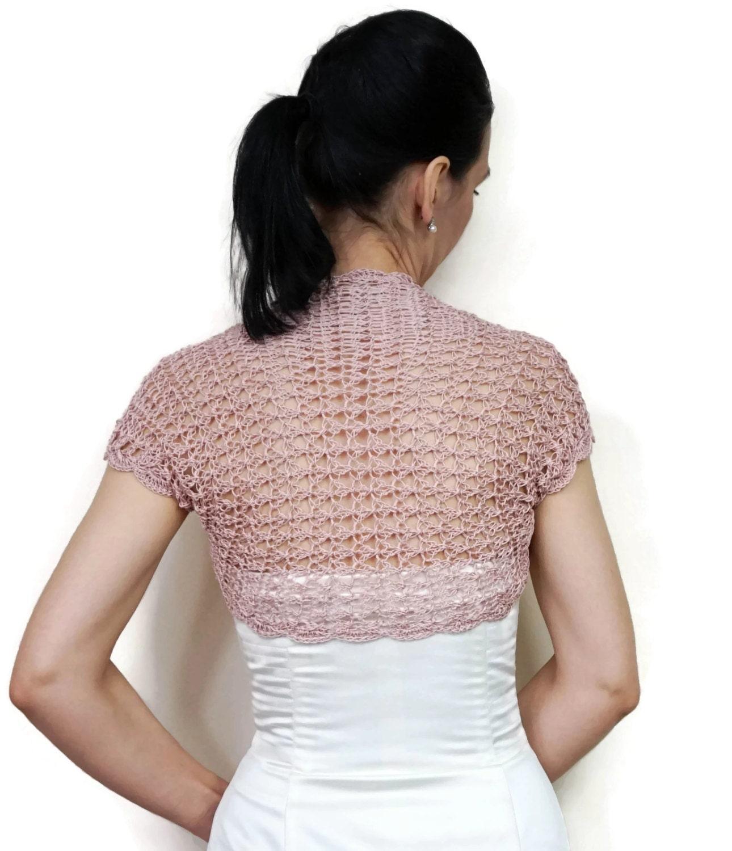 Dusty Pink Bolero Shrug Summer Bolero Jacket Crochet Shrug