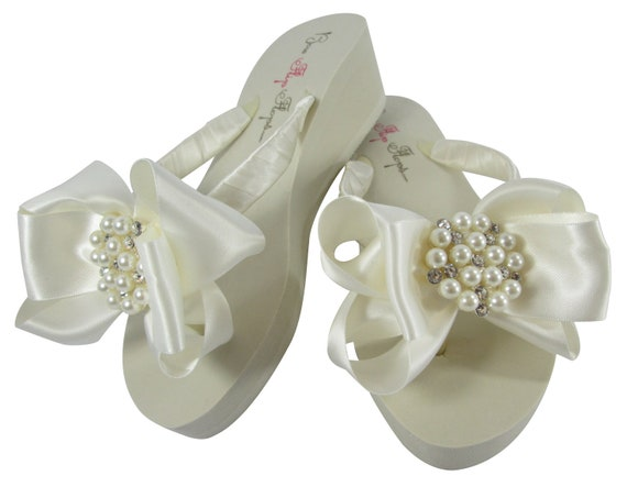 Bridal Flops White Flower Flip Wedge Ivory Wedding Bows Ivory Flip Party Bridesmaids Bling or Flat Bride For Flops Girl Any Color xqwX4zXB