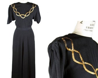ON SALE 1940s Dress / Gold Beaded Black Rayon Evening Dress by Gothé