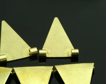 50 pcs 16x25 mm raw brass triangle pendant 2 ( hole 2,5 mm 10 gauge ) raw brass connector charms ,raw brass findings 937R-44