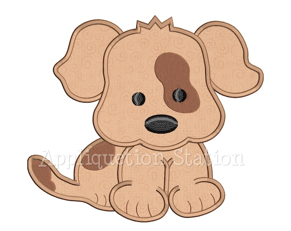 Baby Puppy Dog Patch Over Eye Spot Applique Machine Embroidery