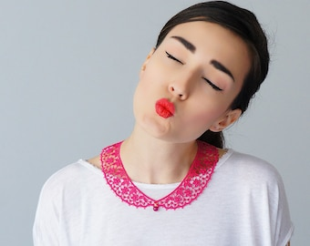 Pink Collar Lace Collar Peter Pan Collar Lace Accessory Women Accessory Gift For Her/ MASERIS