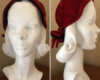 Crimson Red Velvet Victorian Bonnet/Headcover