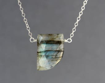Labradorite Necklace, Labradorite Choker, Horn Shaped Labradorite Necklace, Blue Flashy Labradorite, Gemstone Necklace, Pendant Necklace
