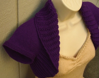 Eggplant Knit Shrug, size Medium   purple eggplant bolero shrug knitted vest sweater wedding bridal evening prom cover-up