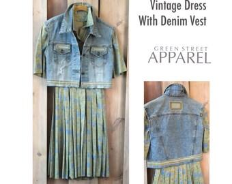 Upcycled Vintage Dress, Denim Vest,  Refashioned Clothing, Blue & Green Dress, Extra Small Dress, Romantic Dress, Urban Prairie Dress