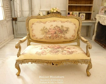 French dollhouse furniture, 1:12th scale, Miniature Sofa in Wood, Aubusson Roses, Mustard yellow