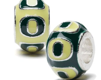 Green and Yellow Oregon Round Bead Charm Set - Set of Two - For Bracelet or Necklace