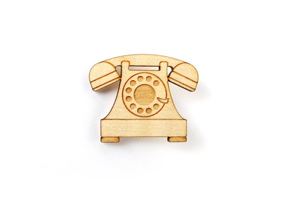 Vintage phone brooch - lasercut maple wood - telephone pin - graphic retro jewelry - antique technology jewellery