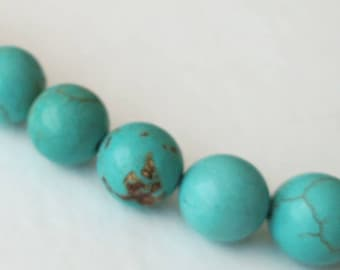 10mm 7 Natural Turquoise Beads Howlite Round Gemstone Blue Green