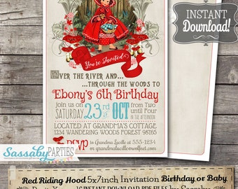 Red Riding Hood Invitation - INSTANT DOWNLOAD - Editable & Printable Litte Red, Into the Woods, Birthday or Baby Invite by Sassaby Parties