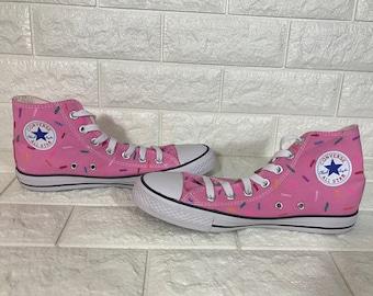 Pink Donut Chuck Taylors [doughnut shoes] YUM! donut toms! Pink Donut Shoes. Donut Converse. Doughnut Converse