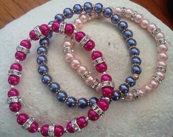 Set of 3 multi colour bracelets