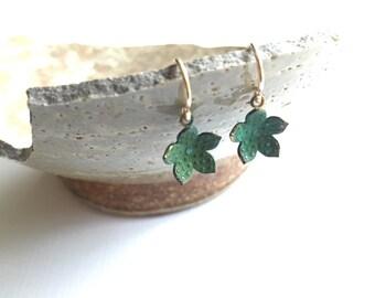 Green Verdigris Flower Earrings