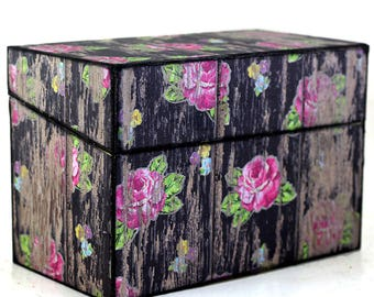 Rustic Recipe Box Wedding Guest Book Black Barn Wood with Pink Flowers Fits 4x6 Cards Ready To Ship