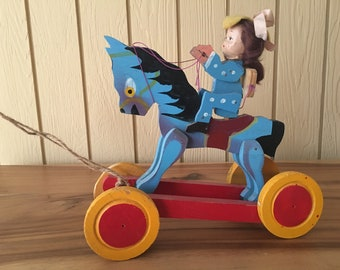American Folk Art. Cowgirl. Antique Wooden Pull Toy. Horse. Delightful