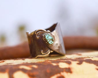 Vintage Sterling Silver Spoon Ring with Raw Turquoise Stone