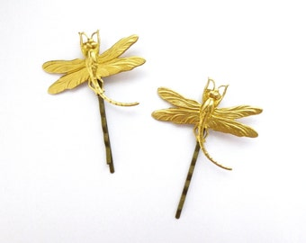 Bridal Bobby Pins Gold Dragonfly Hair Clips Bug Insect Nature Garden Lover Rustic Woodland Wedding Accessories Unique Womens Gift For Her