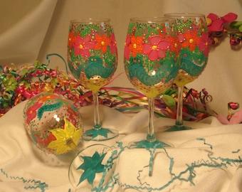 Set of 4 Fiesta Wine Glasses. Hand Painted Fiesta Glasses. Floral Wine Glasses