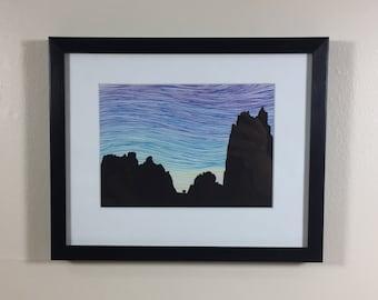 Smith Rock Sunset Original with 8x10 Mat - Oregon Climbing Landscape Drawing