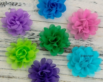 5CM Wholesale Chic Mini Soft Chiffon Flowers For Girls Headbands High Quality Fabric Flower For Hair Accessories
