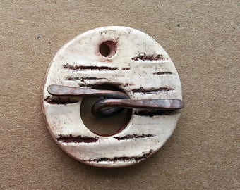 Toggle  Clasp Round Birch Bar Stoneware Ceramic Clay by Mary Harding